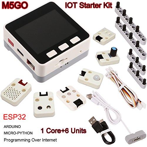 MakerHawk M5Stack M5Stack ESP32 M5GO Starter Kit mit ESP32 16M-Blitz, Bewegungssensor MPU9250, 550mAh-Lithium-Batterie, Grove-Kabel für MicroPython/Arduino-Programmierung über Internet und Heimwerker