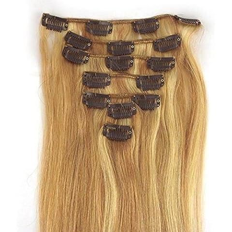 18/613# Brown/ultrahell Rubio Clip en extensiones Set 100% Pelo Natural 7piezas 70g pelo garantía 55cm de clip en Hair Extension