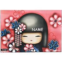 Preisvergleich für Schreibtischunterlage Kimmidoll Puppe incl. Name - 50 cm * 36 cm - PVC Unterlage / Knetunterlage / Schreibunterlage / Tischunterlage - für Mädchen Damen Japan Hibiskus Blumen Blüten