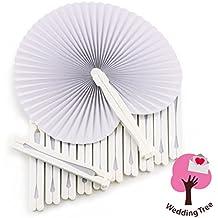 WeddingTree ® 60 x Abanicos de bolsillo - Papel blanco abatible - DIY (Do It Yourself)- Diversión en la decoración para los más grandes y pequeños - Regalo para invitados en boda, fiesta, bailes de flamenco o la danza del vientre
