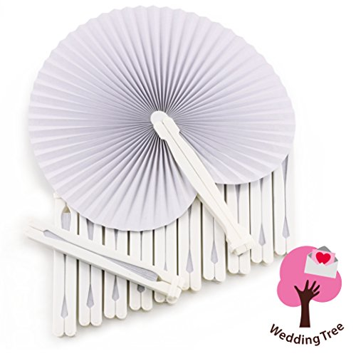 WeddingTree ® 60 x Abanicos de bolsillo - Papel blanco abatible -...