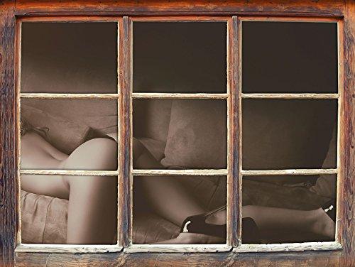 Stil.Zeit Femme Magnifique avec Les Fesses Sexy Fenêtre en 3D Look, Mur ou Format Vignette de la Porte: 62x42cm, Stickers muraux, Sticker Mural, décoration Murale