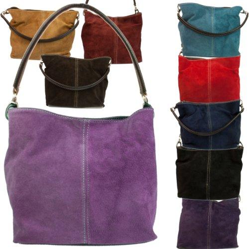 Girly HandBags Nouveau véritable daim cuir épaule en cuir Sac fourre-tout élégant de Designer Collection Femmes