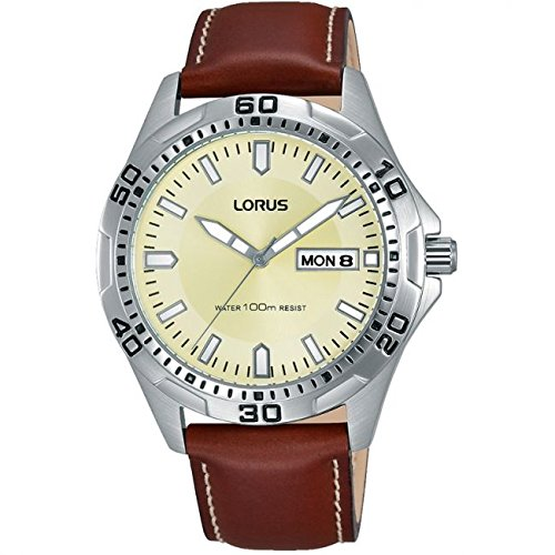 Lorus Sports Beige Dial Brown Leather Strap Gents Watch RXN47DX9