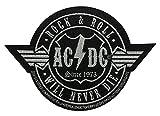AC/DC Aufnäher ROCK N ROLL WILL NEVER DIE CUTOUT - Patch gewebt 10 x 6,5 cm