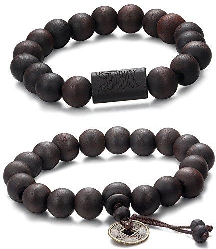 Jstyle Schmuck 2-3 Pcs 11mm Holz Perlen Armband für Männer Frauen Tibetan Buddhist Prayer Link Cool