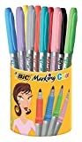 BIC Permanent Marker Marking Color, Rundspitze, 1,1 mm, 10 Farben sortiert, Köcher  9 Stück + 1 gratis