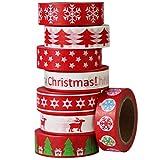 Gouert 8er Washi Tape Weihnachten Dekoration Design Dekoband Masking Tape Klebeband für DIY Craft Scrapbooking Geschenkpapier