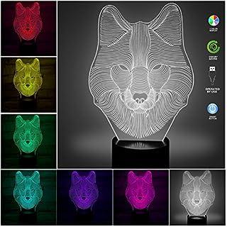3D Illusion Geburtstag Nachtlicht,7 Farben ändern Touch LED Lampe für Kinder Geburtstagsgeschenk USB betrieben 3D Illusion Lampe Wolf