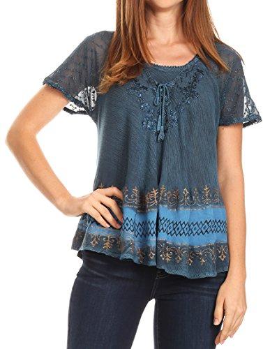Sakkas 17780 - Diane Kurzarm Slim Top Bluse mit Pailletten Stickerei & Golden Print - Fichte Blau - OSP (Shirts Kurzarm-formalen)