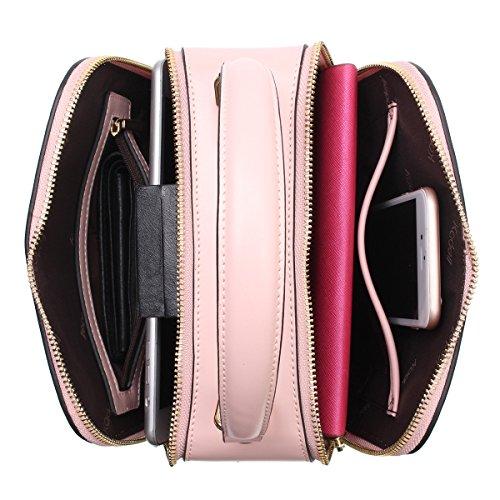 kadell Borsa a tracolla in pelle con manico a lunga cinghia con puro colore Shell del manico superiore Blu grigio Rosa chiaro
