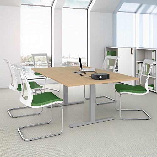 Weber Büro EASY Konferenztisch 200x120 cm Ahorn mit ELEKTRIFIZIERUNG Besprechungstisch Tisch, Gestellfarbe:Silber