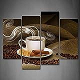 Marrone UN Tazza Di caffè E caffè Fagiolo Pittura di arte della parete La stampa su tela di canapa Cibo Quadri d'illustrazione per l'ufficio domestico Decorazione moderna