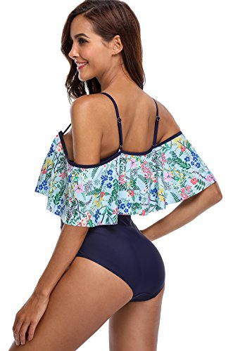 Attraco Damen One Piece Badeanzug Sexy Floral Schwimmanzug Elegante Bademode Navy