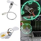 Tenflyer Mini cuello de cisne flexible reloj LED ventilador USB para PC Portátil