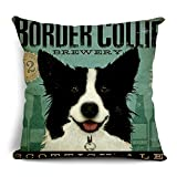 Poens Dream Funda de Coj'n, Retro Vintage Border Collie Printed Cotton Linen Decorative Pillow Cushion Cover, 17.7 x 17.7inches