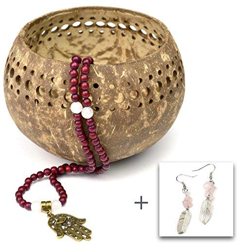 Mala con perline di quarzo rosa e hamsa ciondolo - Collana meditazione fatta di 108 grani in legno e pietras preziosas con orecchini accompiament - von Ahimsa Glow®