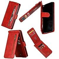 جراب محفظة Mylne متعدد الوظائف بسحاب لهاتف Samsung Galaxy S10 Lite، حقيبة يد مغناطيسية مزدوجة فوليو جلدية مع 9 فتحات للبطاقات وحزام معصم أحمر