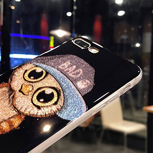 Custodia iPhone 7, iPhone 8 Cover Silicone Bling, SainCat Cover per iPhone 7/8 Custodia Silicone Morbido 3D, Bling Glitter Shock-Absorption Ultra Slim Transparent Silicone Case Ultra Sottile Morbida G Berretto da Baseball Blu #1