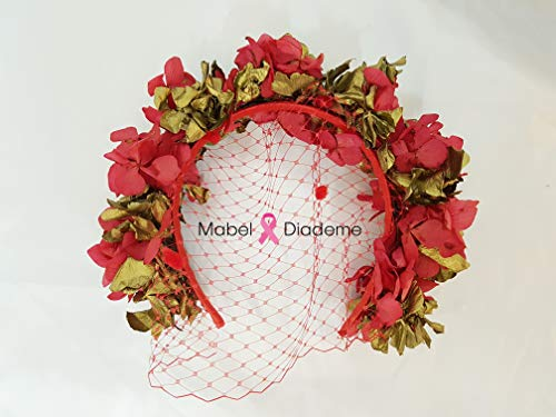 a7dd3f595 Mabel Diademe diadema roja velo rojo con flores preservadas en rojo y  dorado accesorio pelo para