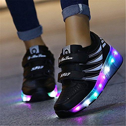 SGoodshoes Schuhe mit Rollen Skateboard Led Leuchtende Wheelies Kinderschuhe Rollenschuhe 2 Rädern Turnschuhe Lichter ohne USB Jungs Mädchen Damen Herren Schwarz
