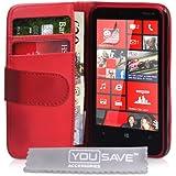 Nokia Lumia 620 Rot Schutzhülle aus Leder für