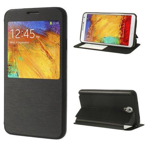 jbTec® Flip Case Handy-Hülle zu Samsung Galaxy Note 3 Neo 3G / SM-N750, LTE / GT-N7505 - SMART BOOK - Handy-Tasche, Schutz-Hülle, Cover, Handyhülle, Bookstyle, Booklet, Farbe:Schwarz