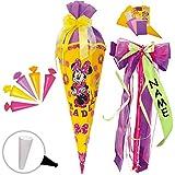 Unbekannt BASTELSET Schultüte + 5 kleine Zuckertüten -  Disney - Minnie Mouse  - inkl. individuelle große Schleife - 85 cm - mit / ohne Kunststoff Spitze - Zuckertüte..