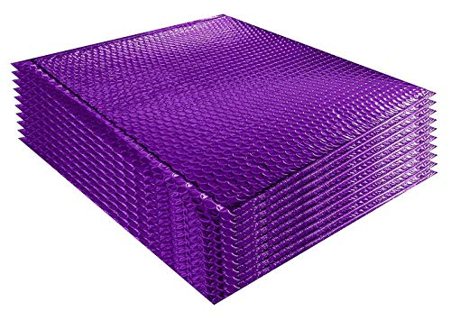 Amiff Luftpolsterversandtaschen 12,75 x 10,5 Luftpolstertaschen 12 3/4 x 10 1/2 Kissenumschläge, Violett, 10 Stück Mit Haftkleber. Metallicfolie Versand Versand Verpackung Verpackung Verpackung