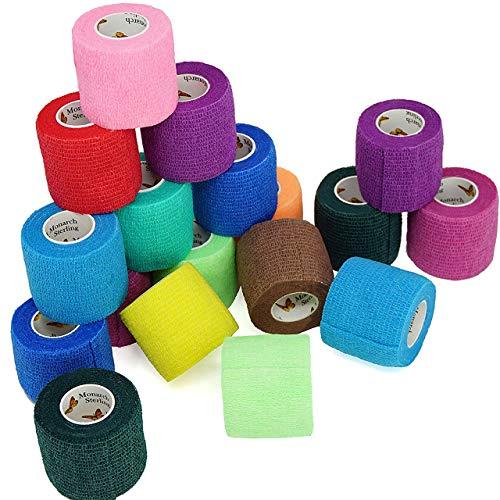 Magiin 20 Piezas Vendajes Auto-Adhesivos Elásticos No Tejido Multicolor Multi-tamaño Pulsera de Deporte Primeros Auxilios Cinta Dolor Calmante Cuidado Tratando Musculos