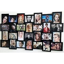 Möbel Rebecca® Bilderrahmen für Fotos Fotorahmen Mosaik 28Fotos Format 10x 15Schwarz (Cod. re4029)