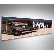 Imagen imágenes en lienzo Ruta 66Arizona Vintage Car panorámico XXL Póster Lienzo Cuadro de decoración salón Marca Islandburner