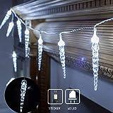 40 LED Lichterkette, LED Eiszapfen wasserfest Lichterkette für Innen Außen Garten Balkon Party Hochzeit Fenster Wand Weiß [Energieklasse A++]