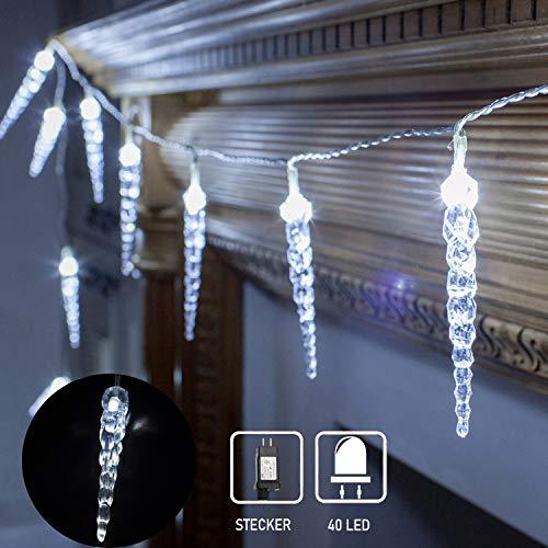 40 LED Lichterkette Eiszapfen Eisregen Lichtervorhang Weihnachtsbeleuchtung für Innen Außen Garten Balkon Party Hochzeit Fenster Wand Weiß kaltweiss IP44 wasserfest