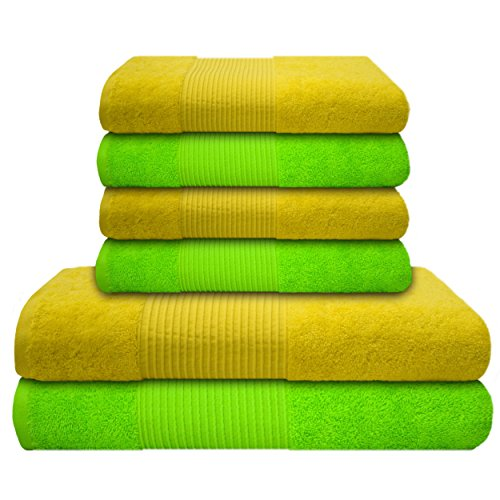 liness-6-tlg-handtcher-set-gelb-grn-4-handtcher-50x100-cm-2-x-badetuch-duschtuch-70x140-cm-handtuch-