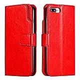 DENDICO Coque iPhone 7 Plus/iPhone 8 Plus, Etui en Cuir Housse [9 emplacements pour Apple Cartes et Monnaie] [Fermeture magnétique] [Fonction Stand] Portefeuille Etui - Rouge