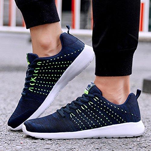 BAINASIQI Herren Sneakers Mesh Sportschuhe Bequeme Freizeit Laufschuhe Fitness Turnschuhe Straßenlaufschuhe Blau-A