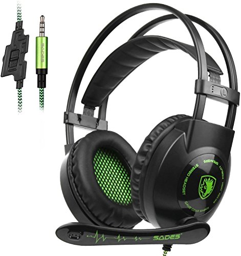 Cascos para Xbox One PS4, Sades SA801 Auriculares Gaming Bajo Envolvente Estéreo con Micrófono 3.5mm Puerto Compatible PC/ MAC/ iPad/ iPod/ iPhone/ Laptop/Smartphone (precio: 17,99€)