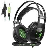 Auriculares estéreo en color verde de 3,5 mm con micrófono y control de volumen para el oído y aislamiento de ruido para ordenador portátil Xbox One PC y tabletas Mac PS4, SADES SA801