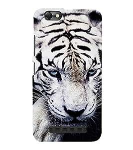PrintVisa White Tiger 3D Hard Polycarbonate Designer Back Case Cover for Lenovo Vibe C :: Lenovo A2020
