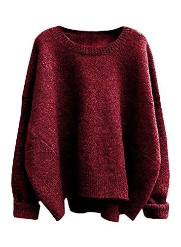Futurino Damen Einfarbig Langarm Dismiss Ärmels Lose Stricken Pullover Sweater one size (Rot)