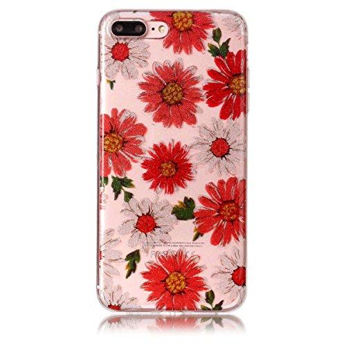 iPhone 7 Plus Hülle ,Fodlon® Ultra Slim Fit TPU Gel Skin BlinkenPulver Schutzhülle / Case / Cover -Saflorschmetterling Gänseblümchen