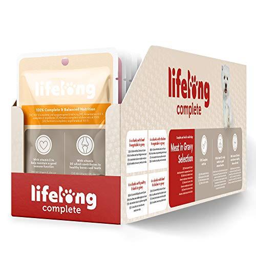 Amazon-Marke: Lifelong Alleinfuttermittel für ausgewachsene Hunde- Fleischauswahl in Sauce, 2,4 kg (24 Beutel x 100g)