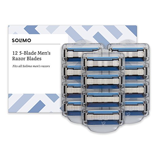 Amazon Brand - Solimo 12 Replacement 5-Blade Cartridges for Man