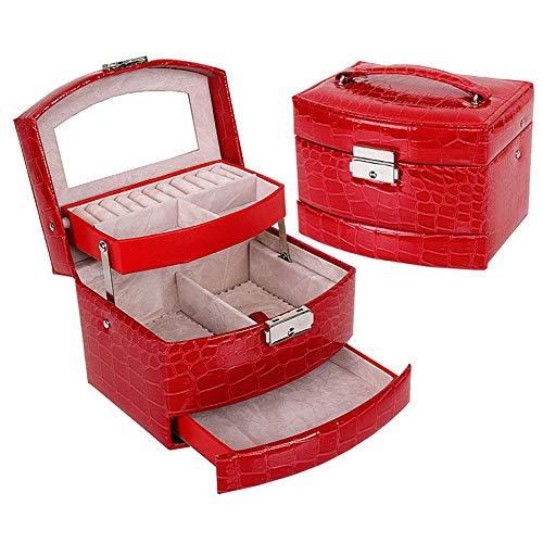 LQZHP Große Schmuckschatulle Armband Halskette Aufbewahrungskoffer - Frauen Schmuckschatullen Eingebauter Spiegel Kompakte Größe Geschenkbox, Red