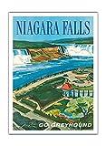 Niagara Falls, Niagara Wasserfall - Ontario, Kanada - New York, USA - Reise mit Greyhound! Greyhound-Bus-Linien - Vintage Retro Welt Reise Plakat Poster von S. Fleming c.1950s - Premium 290gsm Giclée Kunstdruck - 30.5cm x 41cm