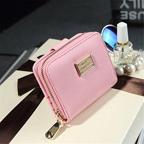 dame brieftasche Kreuz Muster reißverschluss Kurze brieftasche halten tasche Rosa