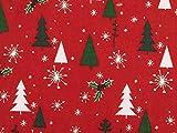 ab 1m: Weihnachtsstoff, Tannenbäume, weiß-grün, 140cm