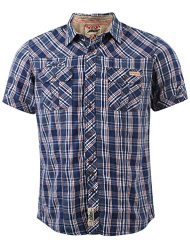 Tokyo Laundry Herren Morello Kurzarm Kariertes Hemd Größe S-XL Dunkel Marineblau