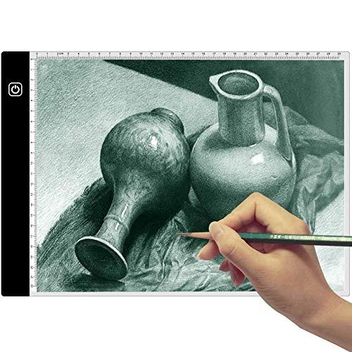 Preisvergleich Produktbild Joylora A4 LED Leuchttisch,  LED Licht Pad Helligkeit dimmbar Leichtkasten A4 Leuchttisch Tragbare Zeichnen Light Pad mit USB Kabel Malen Pad Ideal für Malen Skizzierung Animation Zeichnung